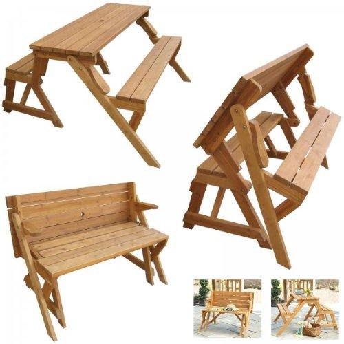 Mesa de picnic que se convierte en banco al plegarla for Mesa banco madera jardin