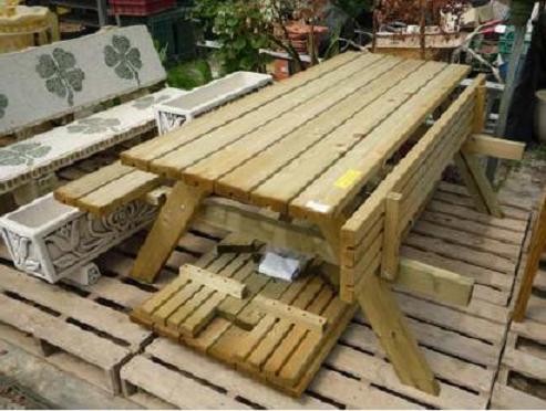 Mesa picnic con palet con patas abatibles o desmontable - Mesa de madera para jardin ...